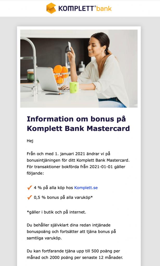 Komplett Kreditkort sänker sin bonus
